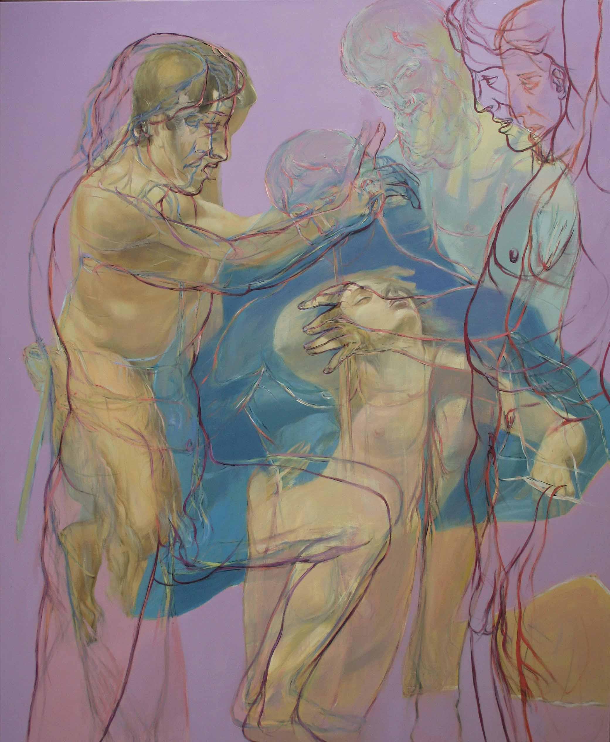 Henri Deparade: Marsyas III, 2012, Ölfarbe a. Lwand, 220 x 180 cm